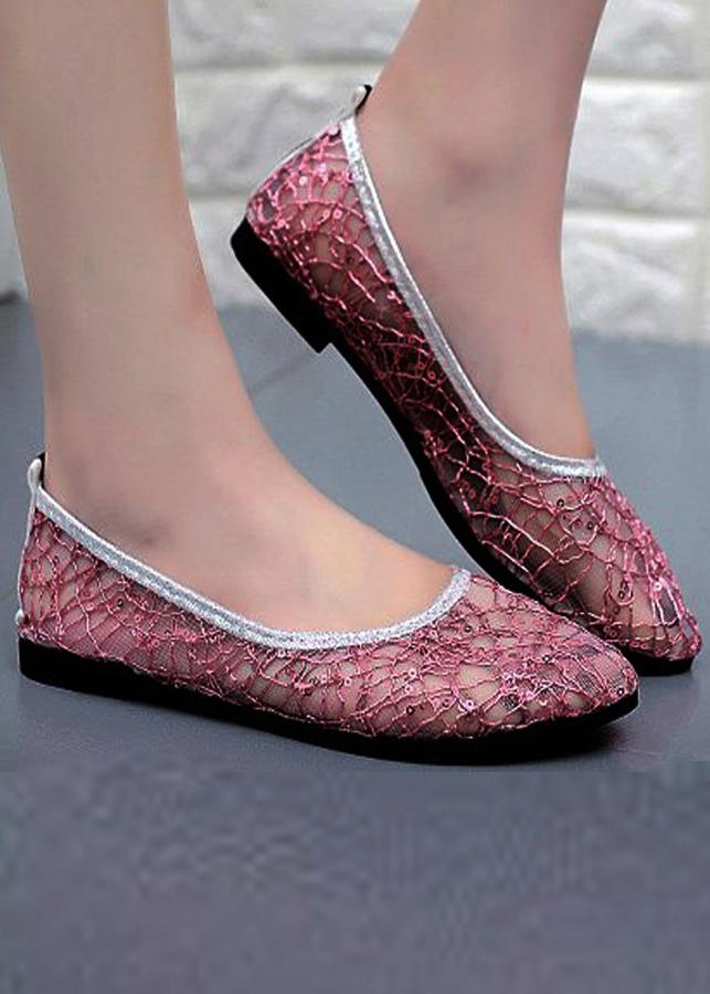 Giày búp bê lưới cao su thoáng mát siêu bền-305 Hồng