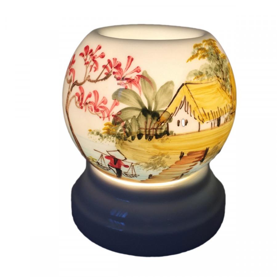 Đèn xông tinh dầu gốm trang trí họa tiết