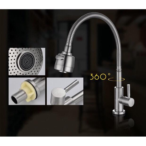 Vòi rửa chén lạnh Inox SUS 304 bền, tiện dụng