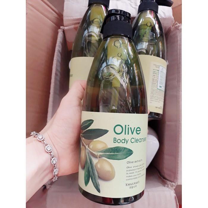 Sữa tắm tinh chất ô liu Welcos Olive Body Cleanser 740ml + Móc khóa