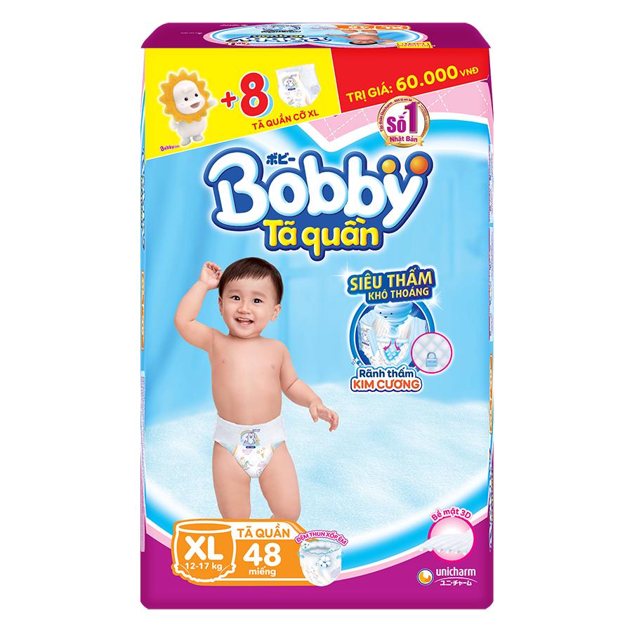 Tã Quần Bobby Gói Siêu Lớn XL48 48 Miếng  8 Miếng Cùng Size
