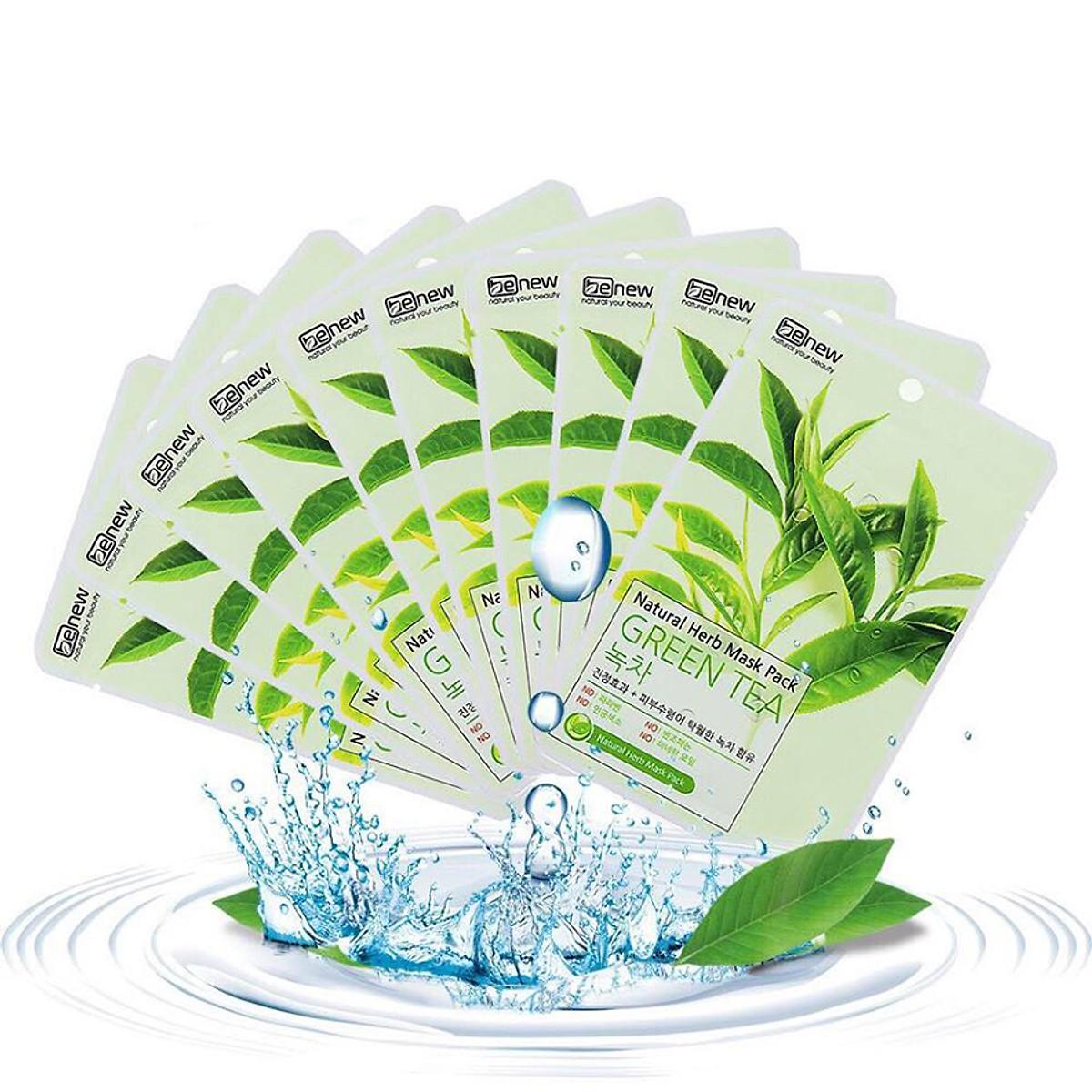 Bộ 10 Miếng Mặt Nạ Trà Xanh Benew Natural Herb Mask Green Tea ( 22ml / miếng ) [ Tặng dây cột tóc ]