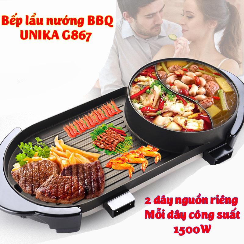 Bếp lẩu nướng BBQ 2 dây nguồn riêng UNK-169 liền không khói công suất 3000W đẽ dàng ăn lẩu nướng tại nhà cho 2-8 người