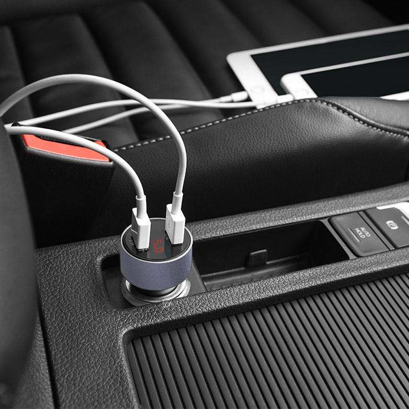 Sạc xe hơi 2 cổng Hoco sạc nhanh 2.1A chất liệu PC+ABS cao cấp an toàn Z9 - Hàng chính hãng