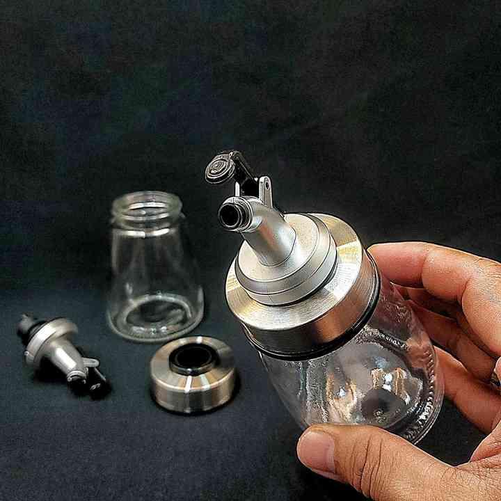 Combo 3 Chai dầu ăn có vòi 180ml thủy tinh - Đáy Bẹt chống ngã - đựng nước chấm, giấm, cocktail pha chế - công nghệ Dòng Chảy Liên Tục