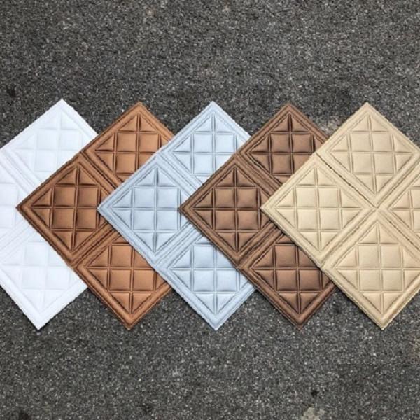 Bộ 10 tấm xốp dán tường giả da họa tiết ô vuông