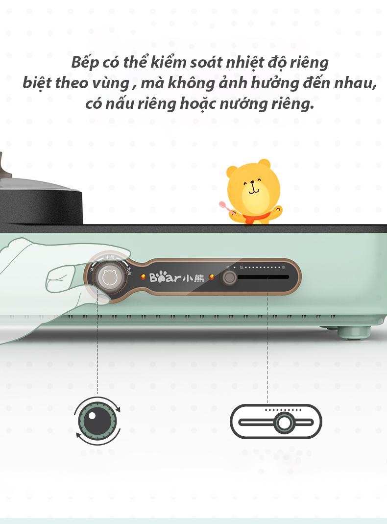 Bếp (Nồi) lẩu nướng BEAR đa năng cho gia đình DKL-C15G1- Hàng chính hãng