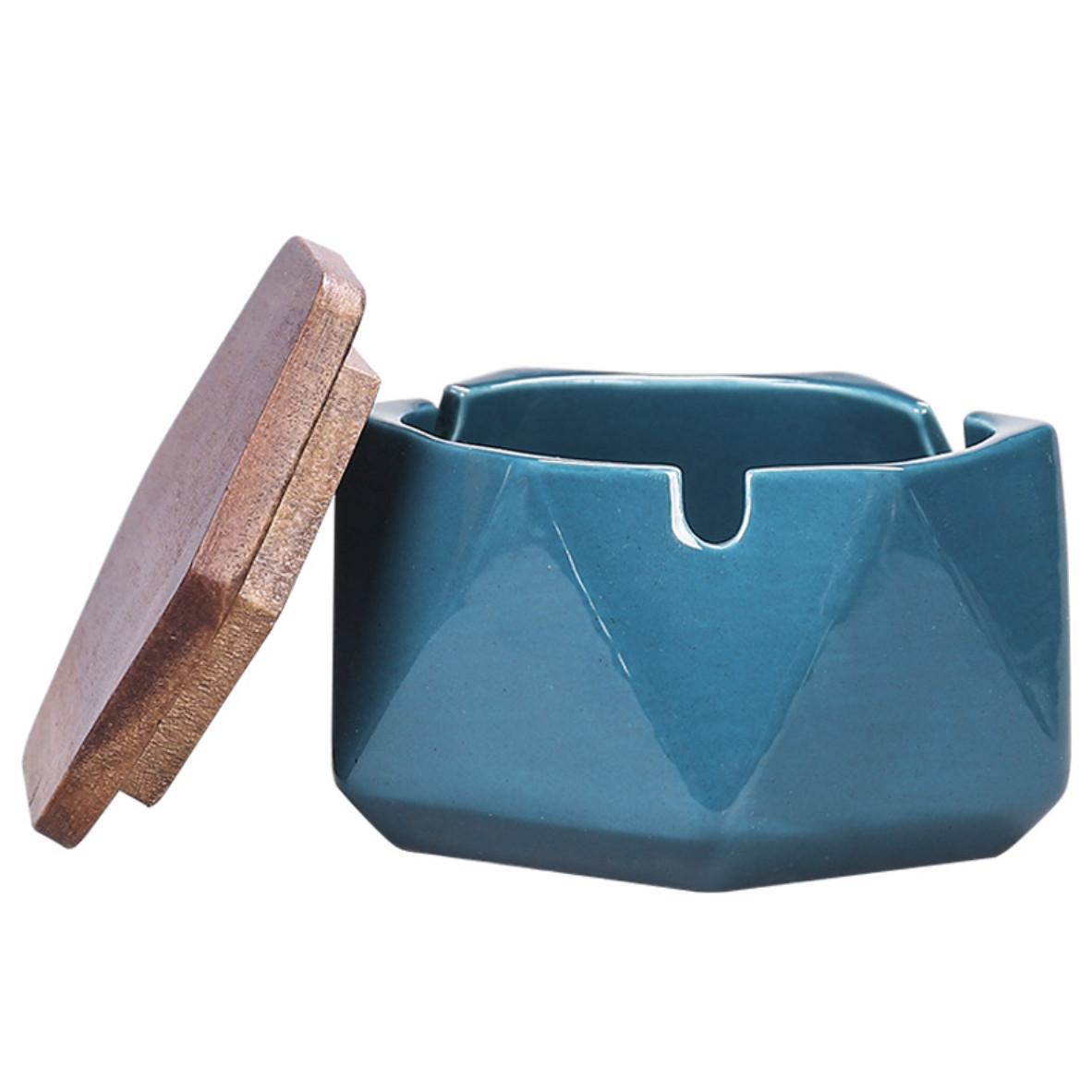 Gạt tàn gốm sứ vân tam giác nổi kèm nắp gỗ
