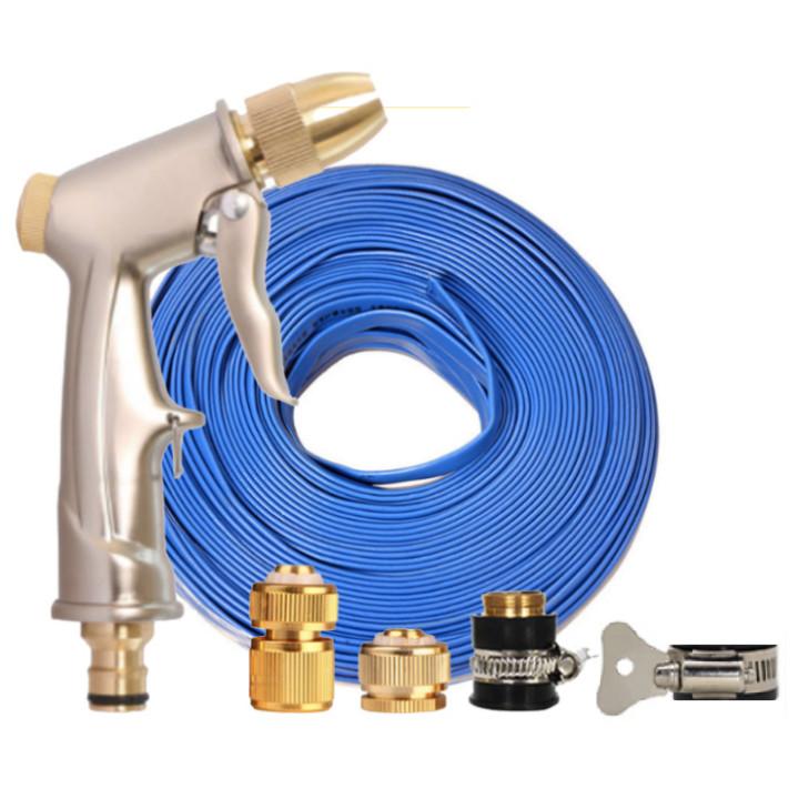 Bộ dây vòi xịt nước rửa xe, tưới cây đa năng, tăng áp 3 lần, loại 15m 206701-1 đầu đồng,cút đồng+ tặng đai