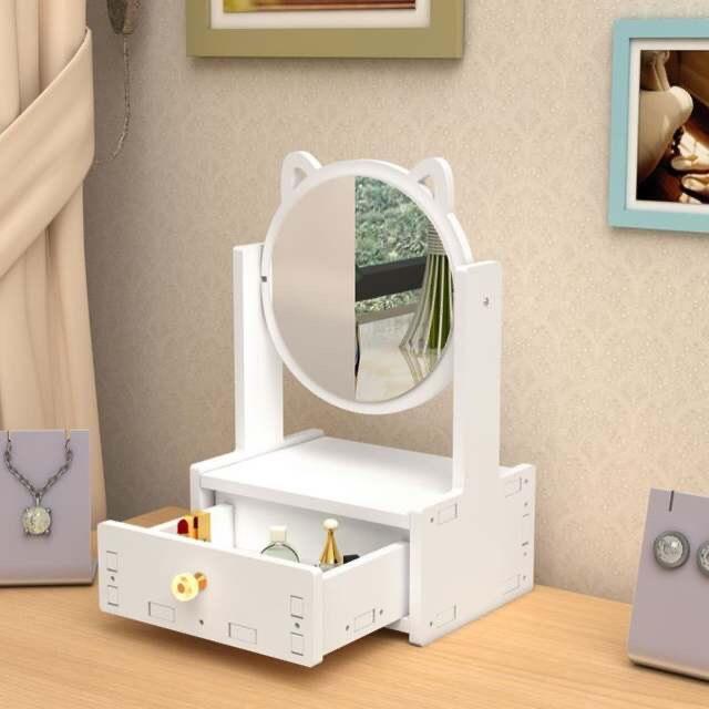 Gương Trang Điêm Để Bàn Có Ngăn Kéo Dễ Thương Xoay 360 Độ - Tặng 1 bộ cọ điểm ( màu ngẫu nhiên )