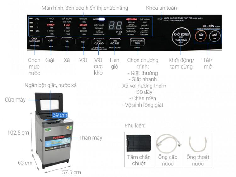Thông số kỹ thuật Máy giặt Toshiba 9.5 Kg AW-UH1050GV DS