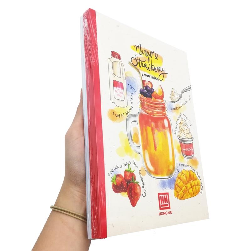 Bộ 5 Vở Kẻ Ngang Cocktail - 80 Trang Không Kể Bìa - ĐL 70 - Mẫu 1 - Mango & Strawberry - Màu Đỏ