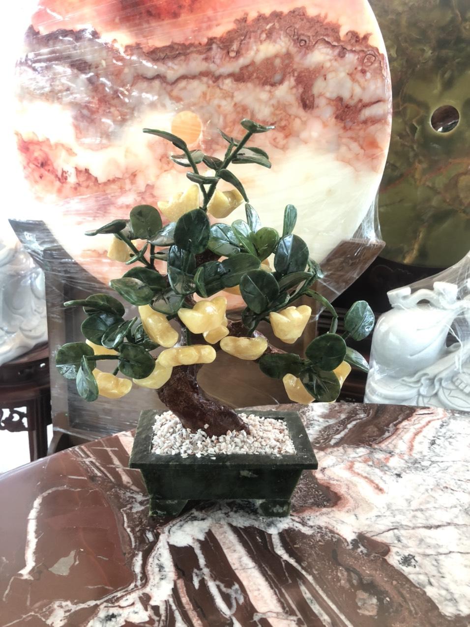 Cây tài lộc thỏi vàng phong thủy đá thạch anh vàng - Cao 35 cm