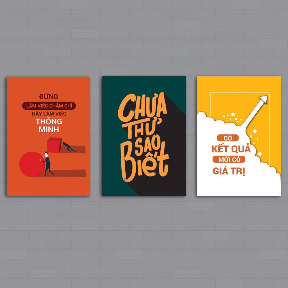 Bộ 3 Tranh Canvas Slogan Tạo động lực văn phòng kết nối nhân viên, nhiều mẫu lựa chọn