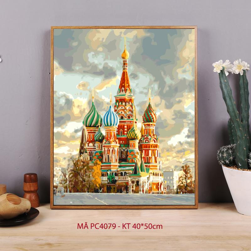 Tranh sơn dầu số hóa tự tô màu Tòa thánh Vasily PC4079