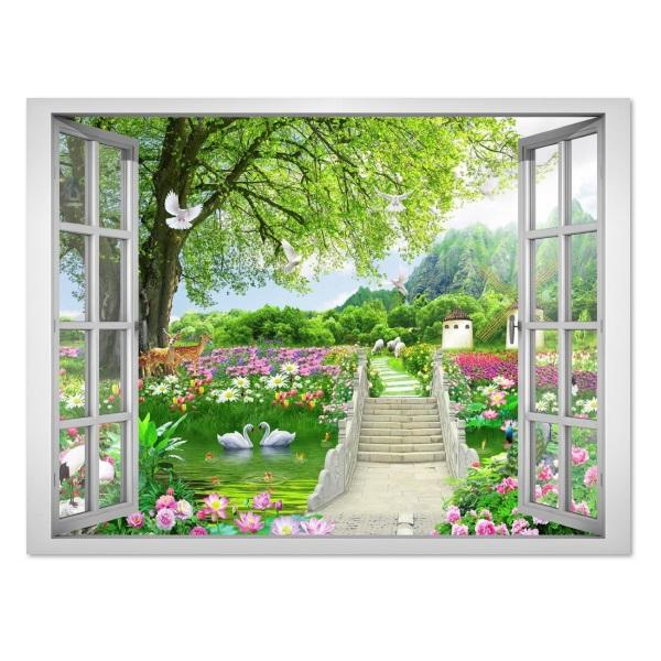 Tranh dán tường cửa sổ phong cảnh đẹp VT0419