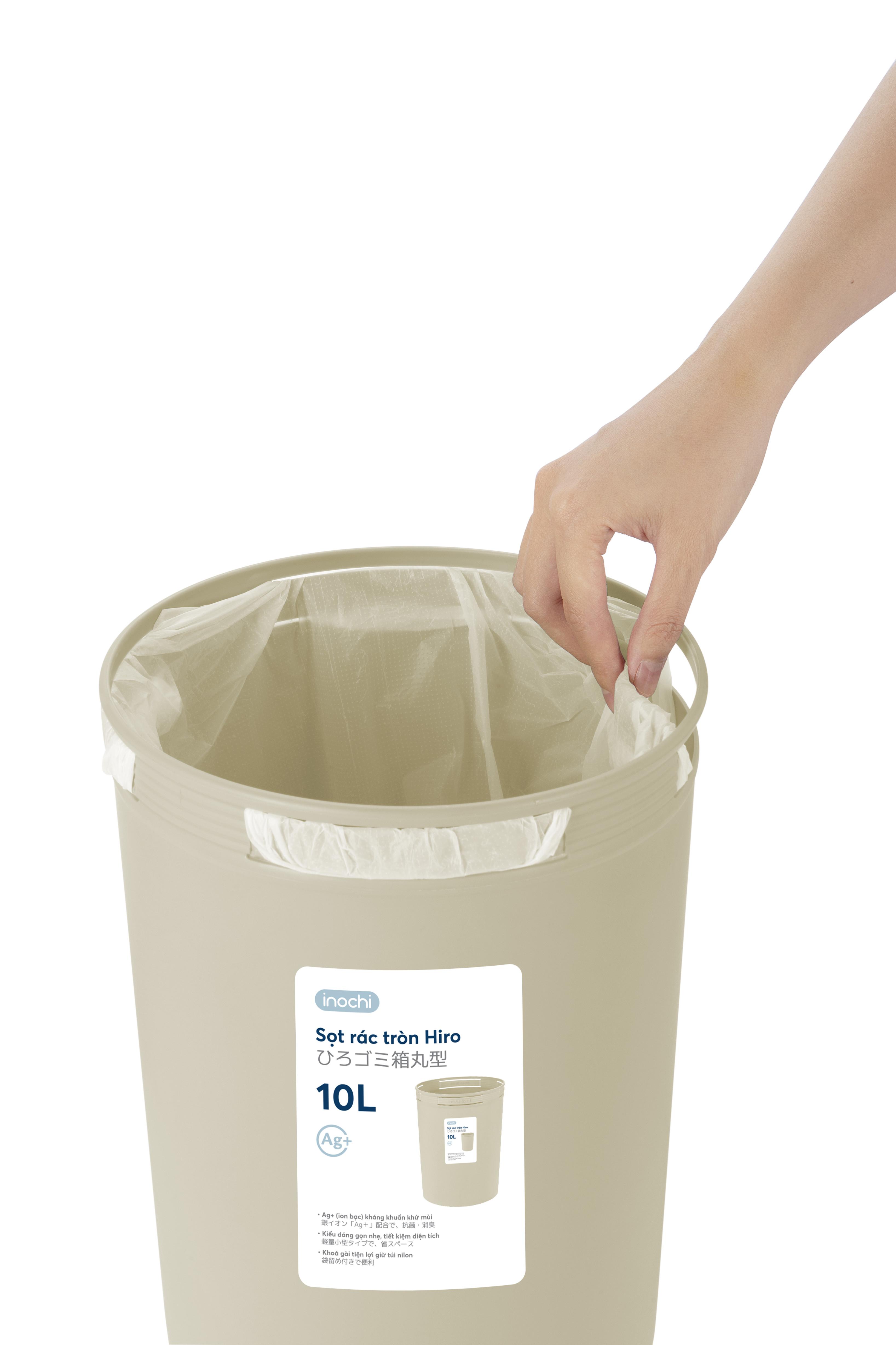 Sọt rác tròn Hiro 10L không nắp
