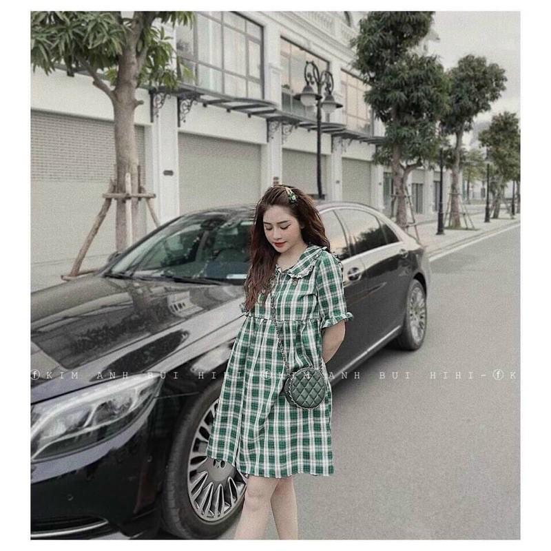 Đầm Bầu, Váy Bầu Caro Kẻ Hot Hit V32 - Dáng BabyDoll Cực Xinh & Trẻ Trung, Hàng Chuẩn Đẹp Loại 1 Kèm Ảnh Thật