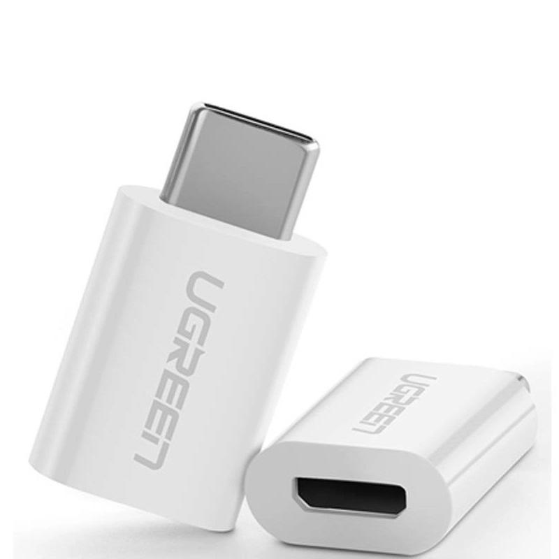 Đầu chuyển đổi USB-C dương Sang Micro USB âm vỏ nhựa màu Trắng Ugreen TC30154US157 Hàng chính hãng.