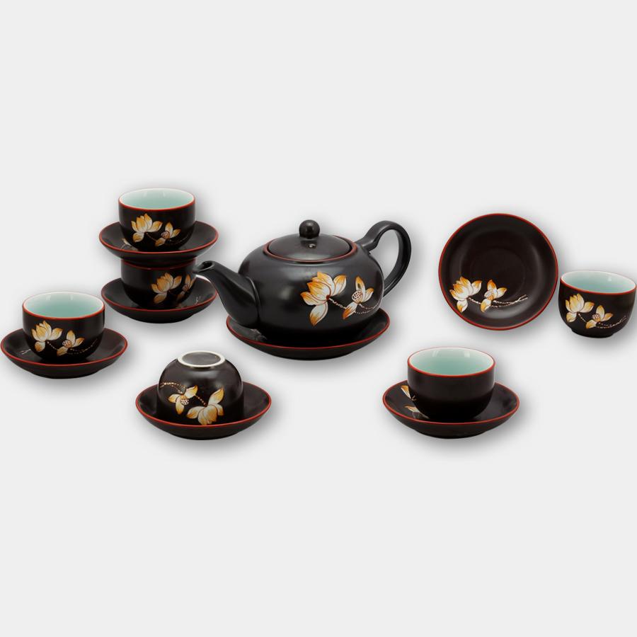 Bộ ấm chén tử sa tròn khắc hoa Sen gốm sứ Bát Tràng (bộ bình uống trà, bình trà)