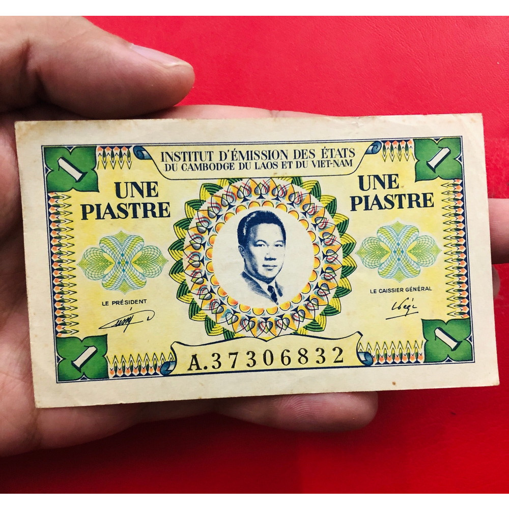 Tờ tiền cổ Việt Nam 1 đồng thuốc bắc ngày xưa có chân dung vua Bảo Đại - kèm bao lì xì - The Merrick Mint