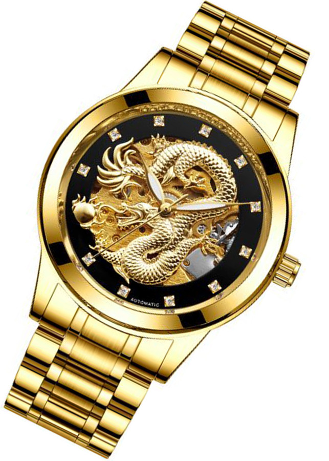 Đồng hồ cơ nam chạm rồng nổi 3D đồng hồ cơ thời trang