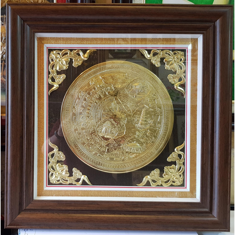 Tranh mặt trống đồng ngọc lũ -Đồng vàng nguyên chất 100%-A055