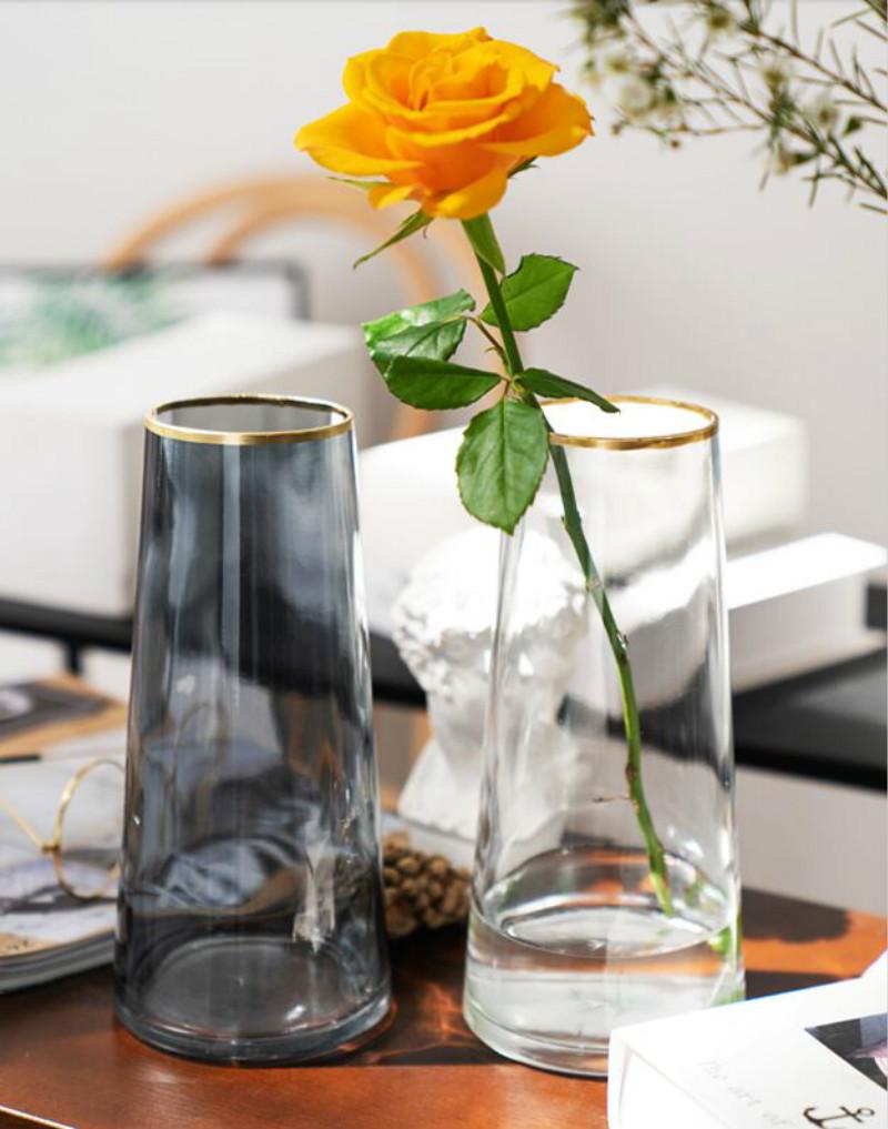 Lọ hoa thủy tinh viền vàng decor  để bàn trang trí nội thất - Lọ hoa Bắc Âu