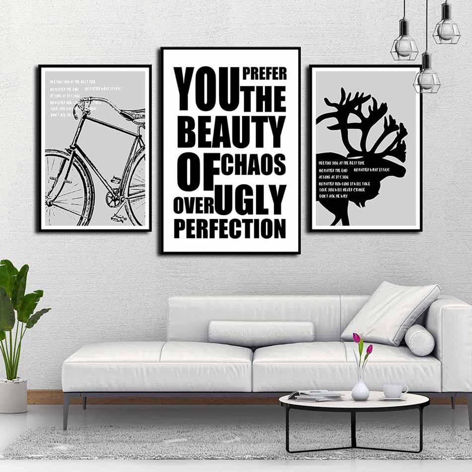 Bộ 3 tranh canvas treo tường Decor Cách điệu, họa tiết trắng đen phong cách scandinavian - DC046
