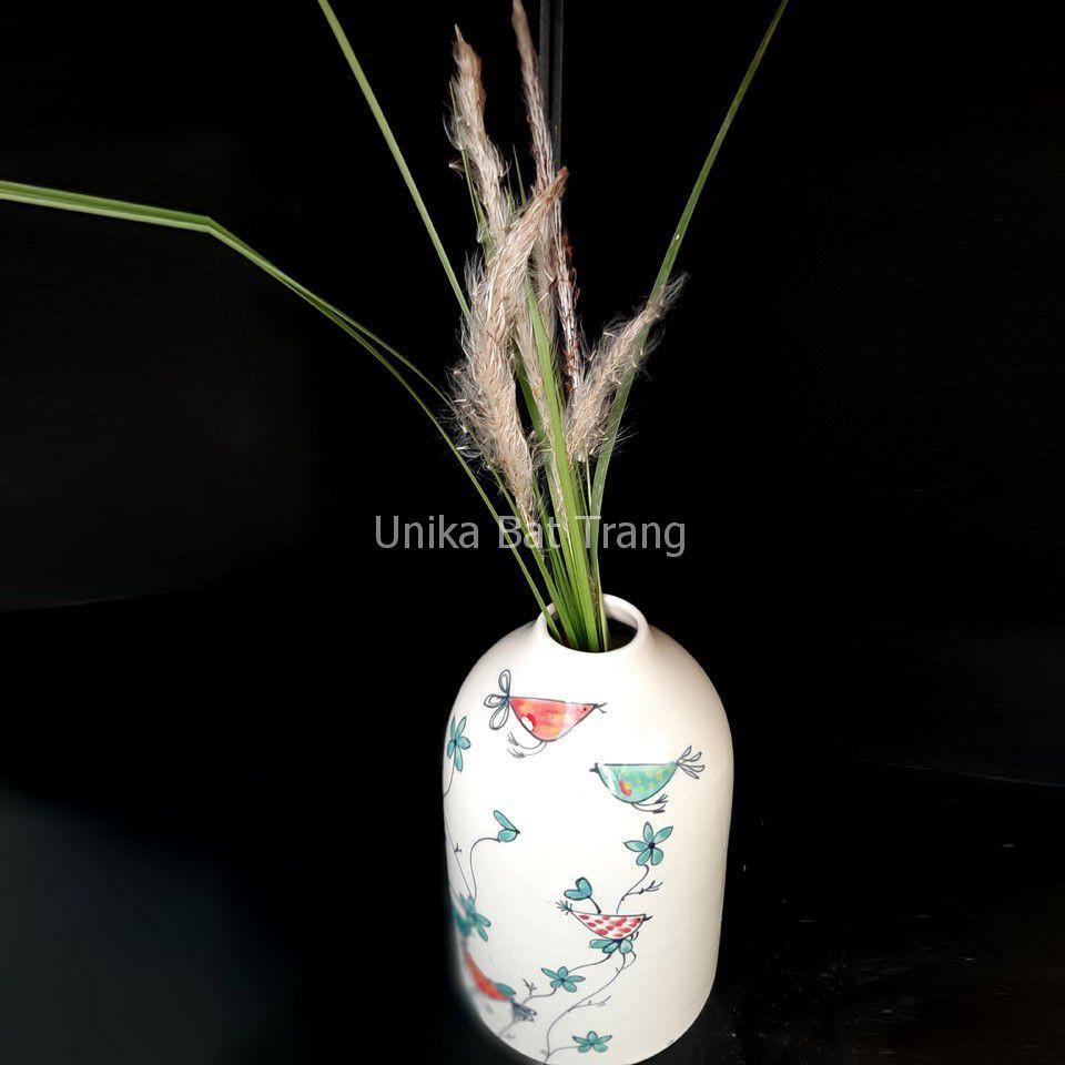 Bình Cắm Hoa Hoạ Tiết Chim - Bình Trang Trí Độc Đáo ABVCD001 - Gốm Sứ Bát Tràng