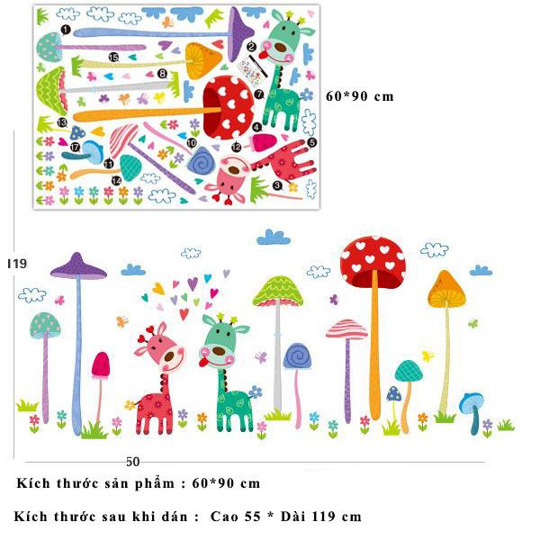 Decal dán tường hoạt hình nai và nấm DLX1455