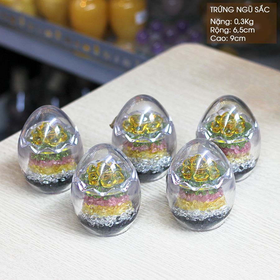 Trứng phong thủy Thạch Anh ngũ sắc
