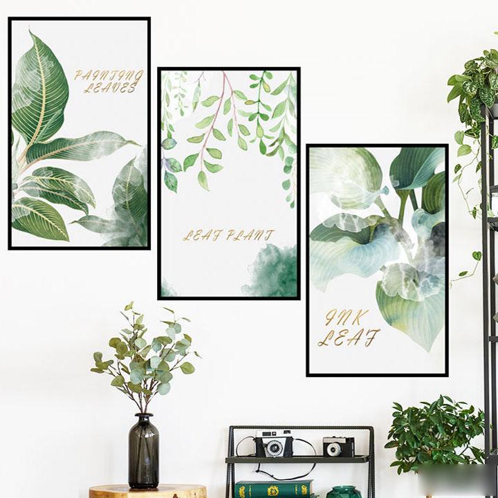 Decal dán tường chất liệu PVC loại 1 dày dặn, sắc nét, trang trí phòng khách, quán cafe- khung ảnh lá nhiệt đới- mã sp LV05