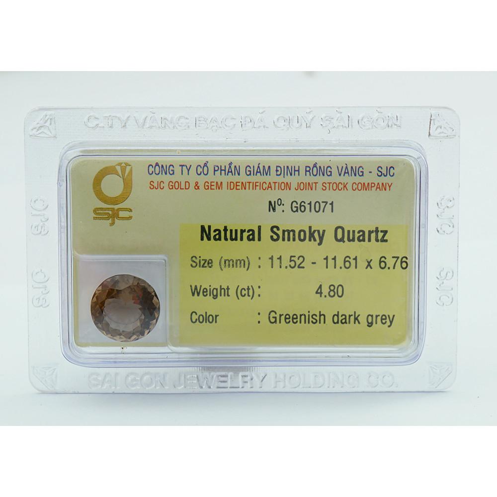 Mặt Đá Thạch Anh Khói Smoky Quartz Tự Nhiên Kiểm Định Mài Giác Tròn