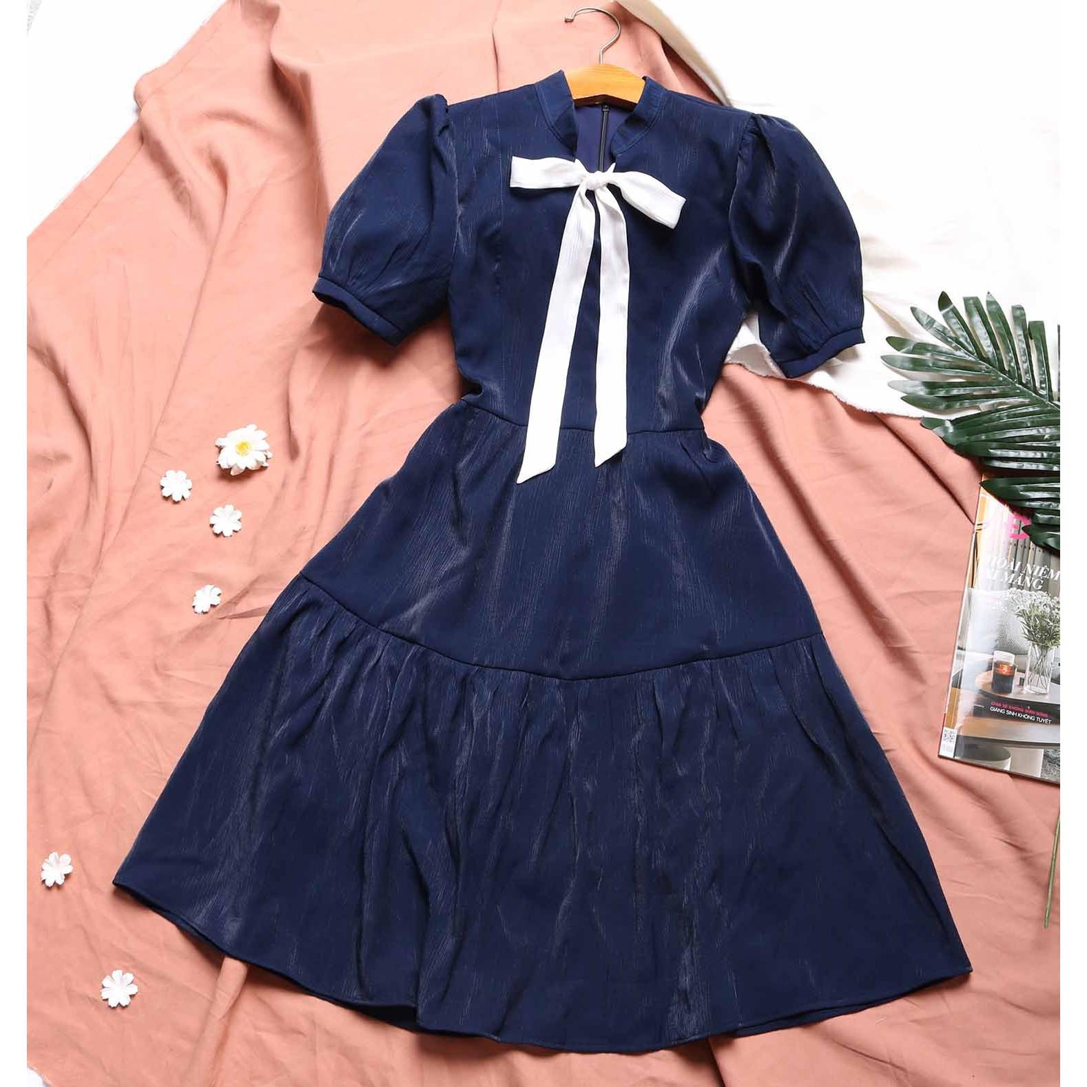 Đầm xanh đen phong cách tiểu thư thanh lịch SIÊU HOT may 2 lớp