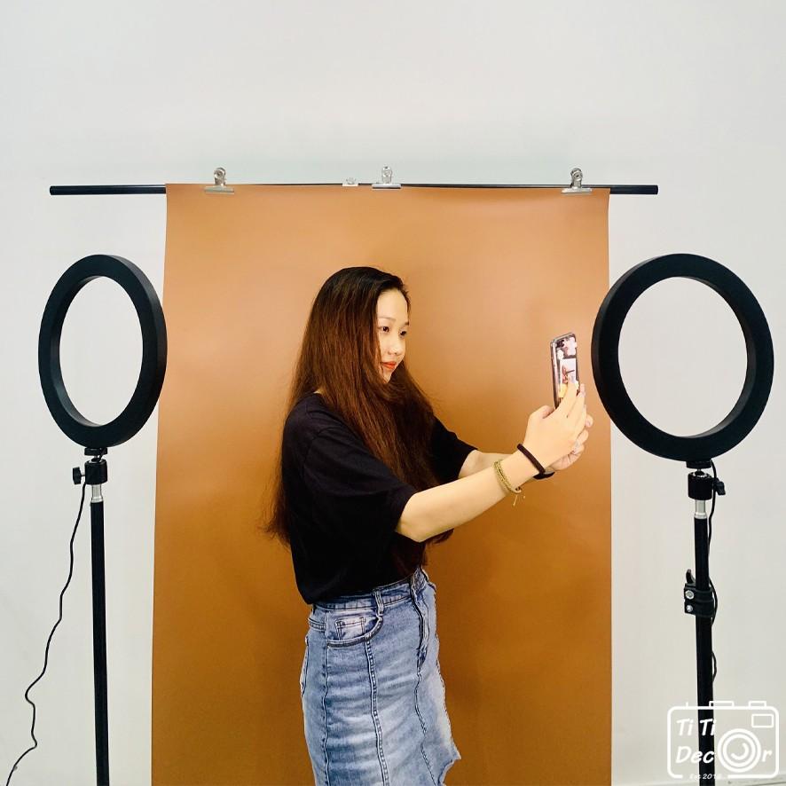 Khung giá treo phông nền chữ T chụp ảnh, livestream kích thước 2x2m (tặng kẹp)- Kèm phông nền