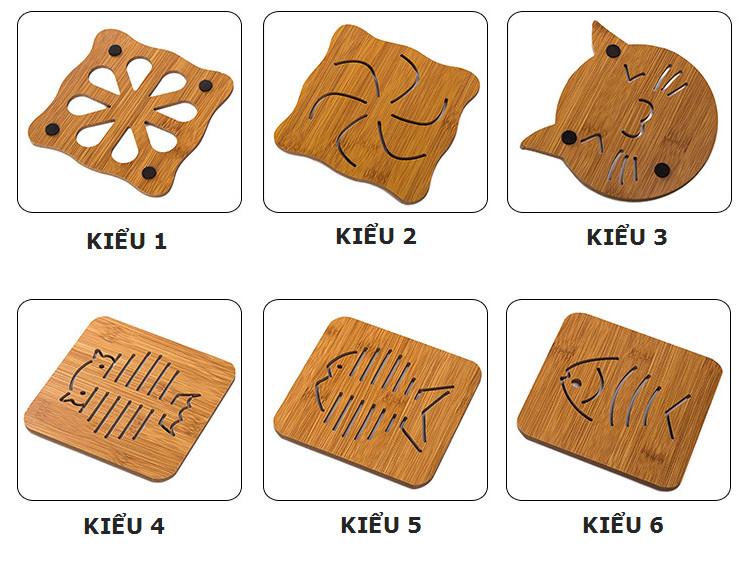 Combo 5 đế lót nồi bằng gỗ chịu nhiệt hình thú (giao mẫu ngẫu nhiên)
