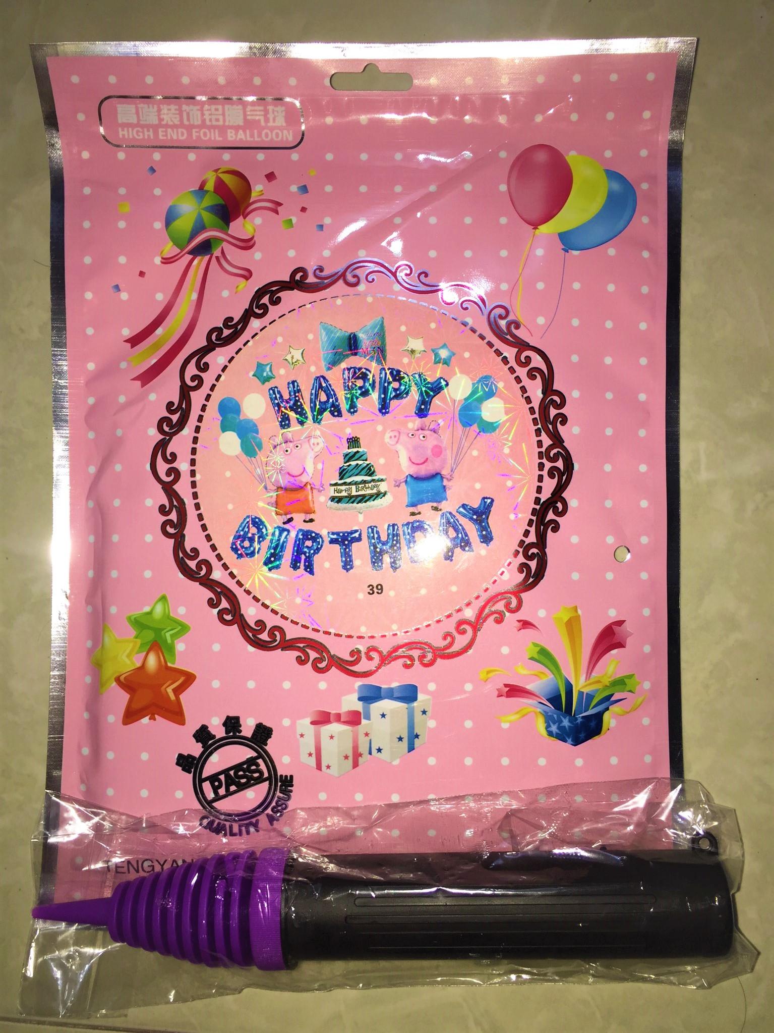 Sét bong bóng trang trí sinh nhật mẫu heo kèm BƠM màu xanh