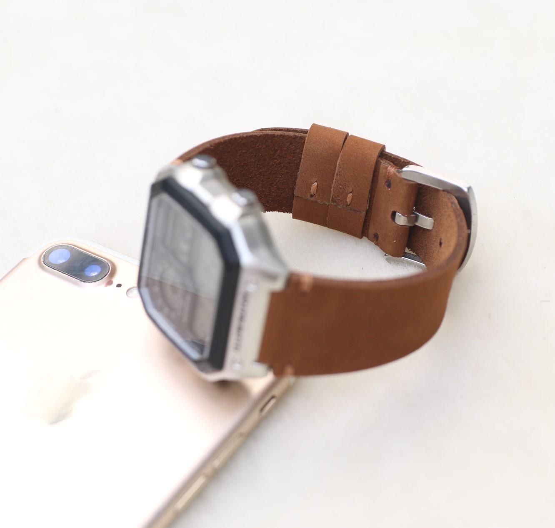 Dây đeo da thay thế đồng hồ Casio AE1200 - Handmade- Da sáp Nâu vàng