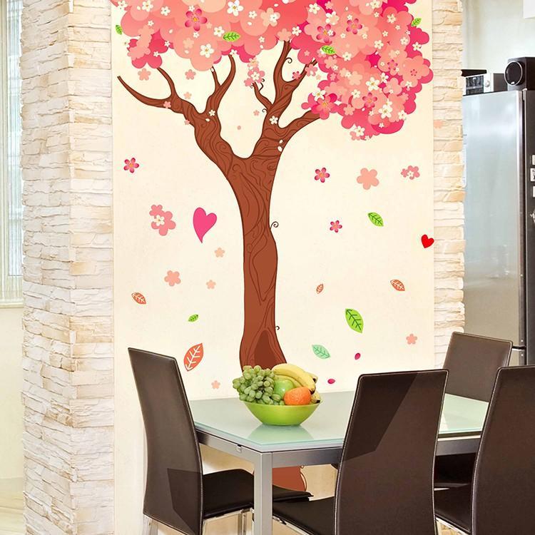 Decal trang trí dán tường hoa anh đào lãng mạng XL9012ABC