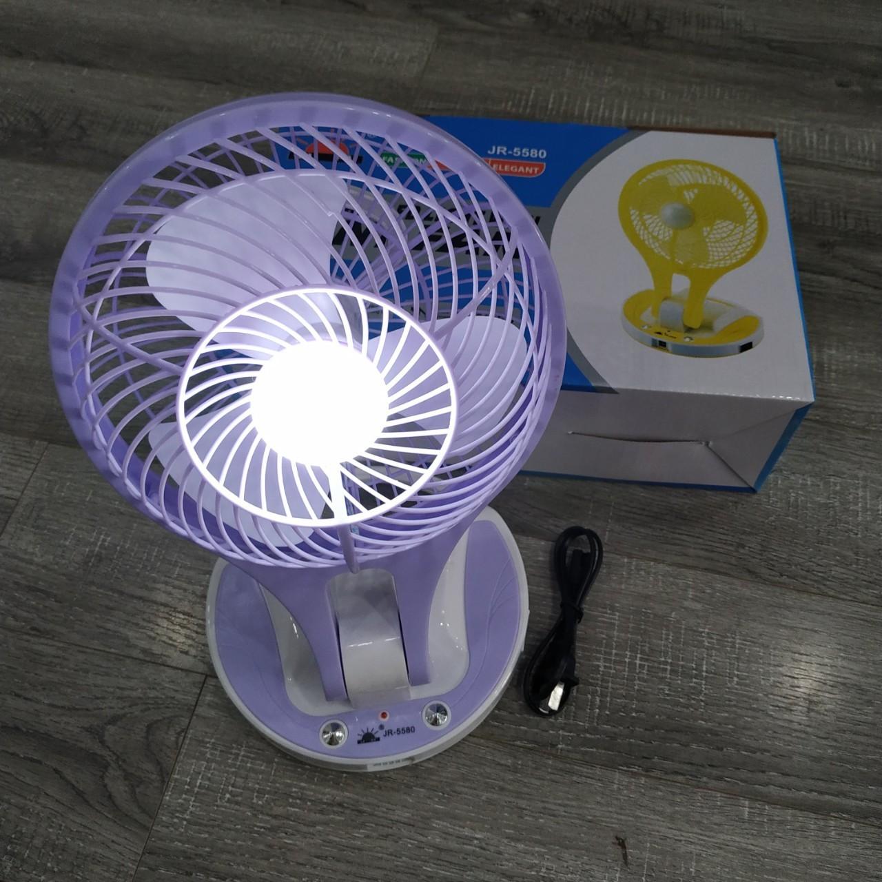 Quạt sạc tích điện cao cấp kèm đèn JR-5580 (màu ngẫu nhiên) tặng kèm 1 khăn lau 30x30cm