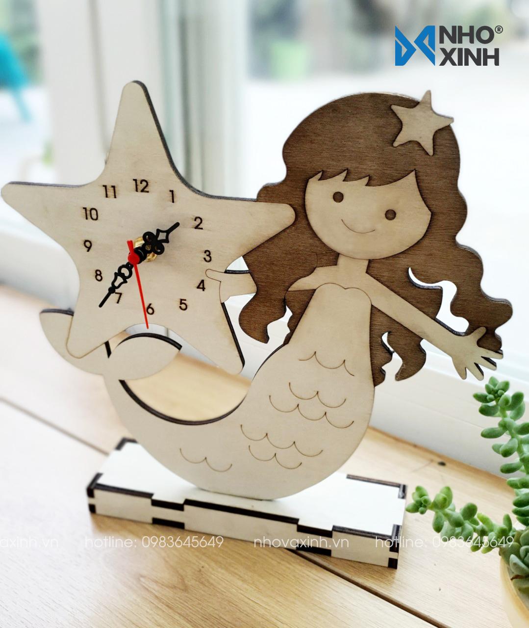 Đồng hồ để bàn bằng gỗ Nàng tiên cá dễ thương trang trí phòng ngủ bé gái