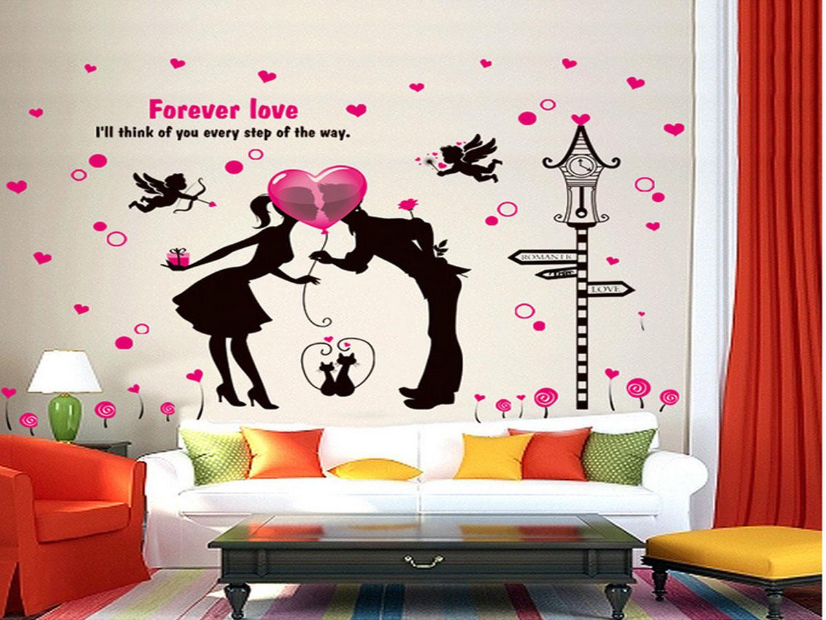 decal dán tường nụ hôn tình nhân xl8123
