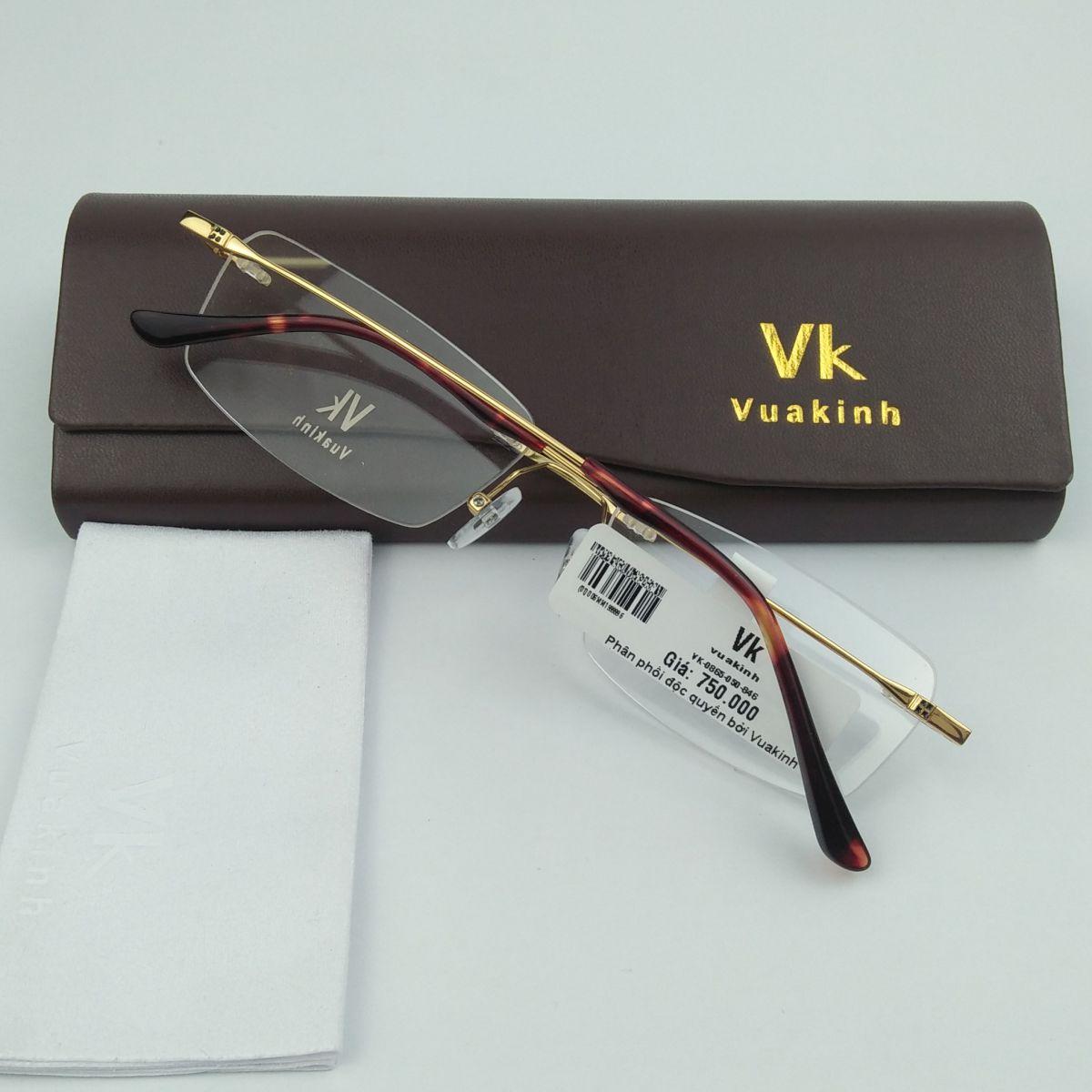 Gọng kính cận titan không viền VK gọng tăm mạ vàng VK-11