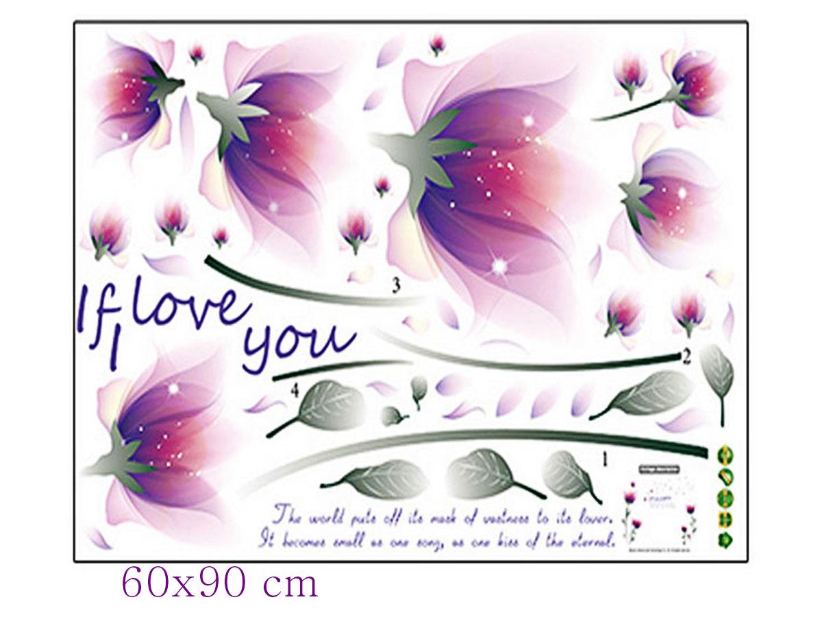 decal dán tường hoa pha lê tím sk9027