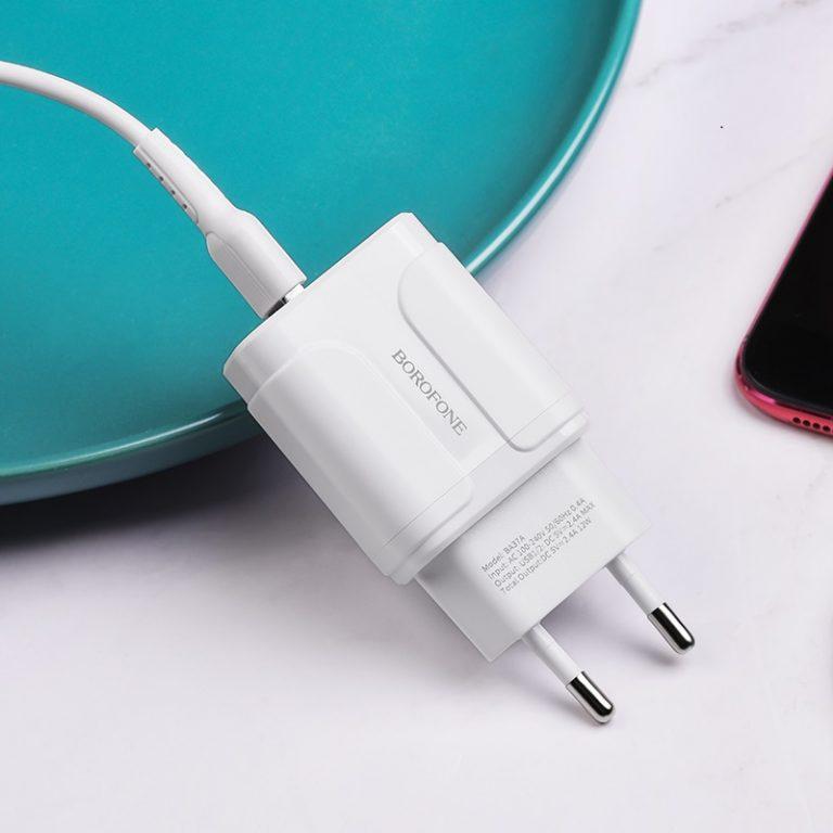 Cóc Sạc BA37A Borofone - 2 Cổng USB - chuẩn EU - Hàng Chính Hãng