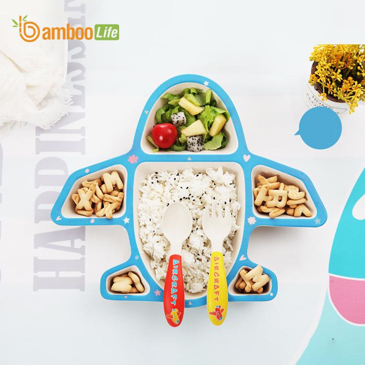 Bộ khay ăn dặm cho bé từ sợi tre thiên nhiên Bamboo Life BL021 hàng chính hãng Dụng cụ ăn dặm cho bé Bộ chén bát ăn dặm cho bé Đồ dùng ăn dặm cho bé