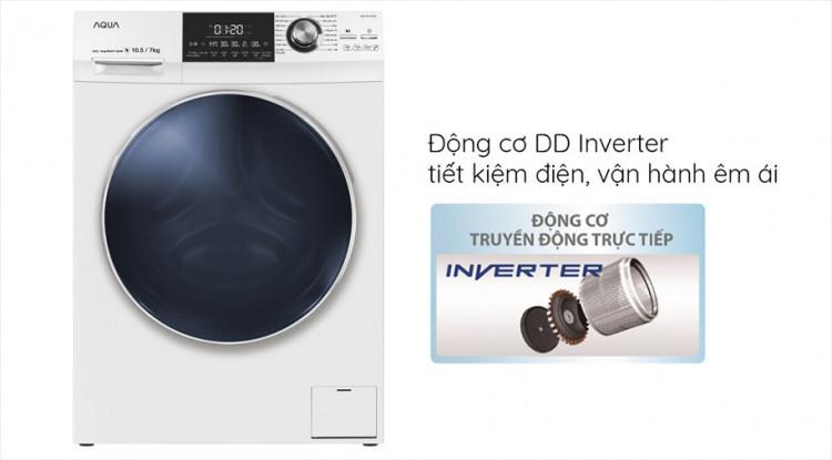 Máy giặt sấy AQUA AQD-DH1050C N trang bị Động cơ DD Inverter tiết kiệm điện
