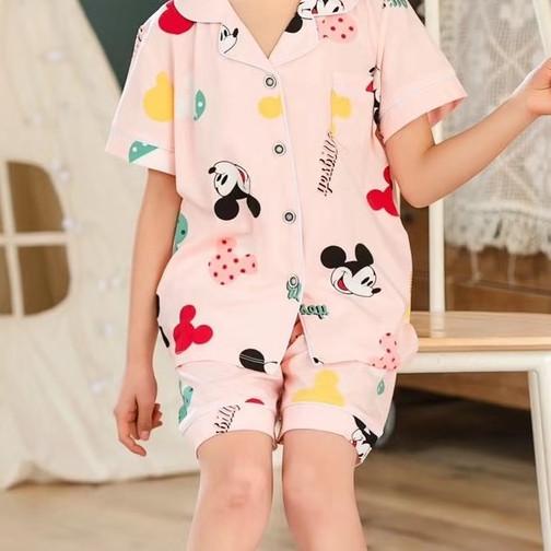 Bộ Pijama cộc tay hình mickey xuất Hàn bé gái 2-14 tuổi