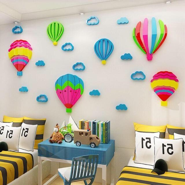 Tranh dán tường mica 3D - Khinh khí cầu, trang trí mầm non, trang trí khu vui chơi trẻ em
